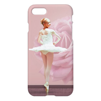 Ballerina in White with Pink Rose iPhone 7 Case