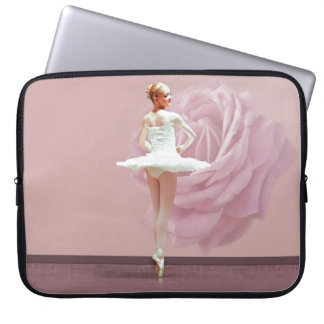 Ballerina in White with Pink Rose Laptop Sleeve