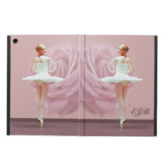 Ballerina in White with Pink Rose, Monogram Cover For iPad Air