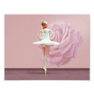 Ballerina in White with Pink Rose Photo