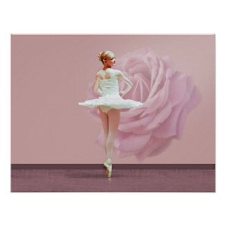 Ballerina in White with Pink Rose Poster