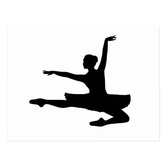 BALLERINA JETÉ (ballet dancer silhouette) ~ Postcard