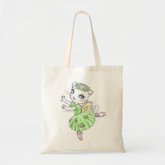 Ballerina Kitty Green Tote Tote Bag