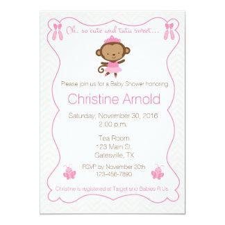 Ballerina Monkey Baby Shower Invitation