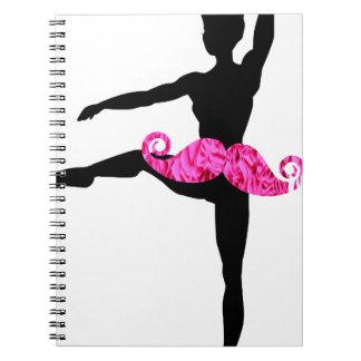 Ballerina Moustache Spiral Notebook