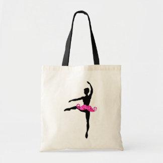 Ballerina Moustache Tote Bags