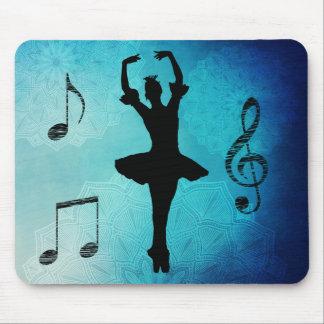 Ballerina Musical Notes and Blue Mandala Mouse Pad