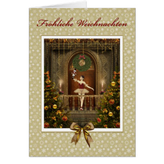 Ballerina Nutcracker German Fröhliche Weichnachten Card