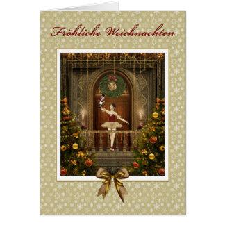 Ballerina Nutcracker German Fröhliche Weichnachten Greeting Card