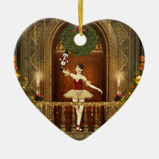 Ballerina Nutcracker Joyeux Noël Heart Ornament