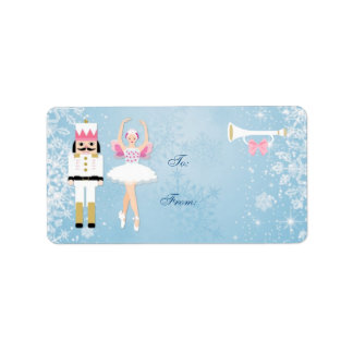 Ballerina & Nutcracker on blue Christmas Gift tag Address Label