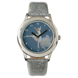 Ballerina on Blue, White Peony with Numerals Watch