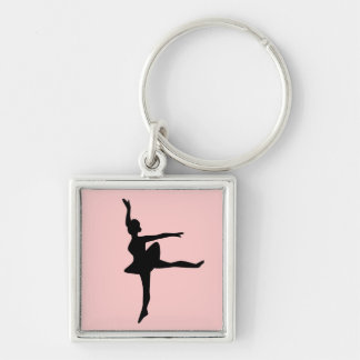Ballerina on Blush Silver-Colored Square Key Ring