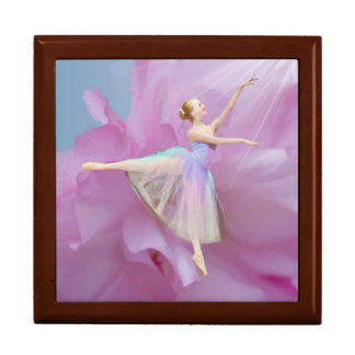 Ballerina on Pink and Blue Gift Box