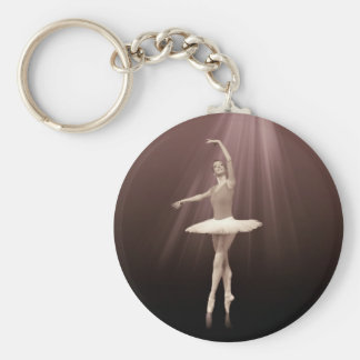 Ballerina On Pointe in Russet Tint Basic Round Button Key Ring