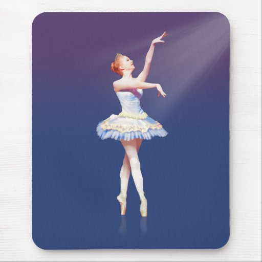 Ballerina On Pointe in Spotlight Mouse Pads