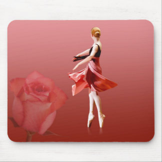 Ballerina On Pointe with Red Rose Mouse Pad