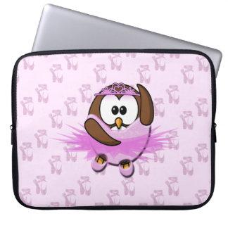 Ballerina owl - glitter laptop computer sleeve