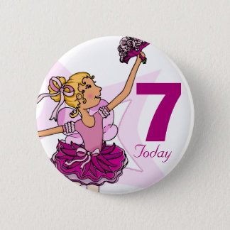 Ballerina pink blonde girl 7th birthday button