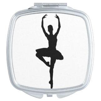 BALLERINA PIROUETTE (ballet dance silhouette) ~ Compact Mirror
