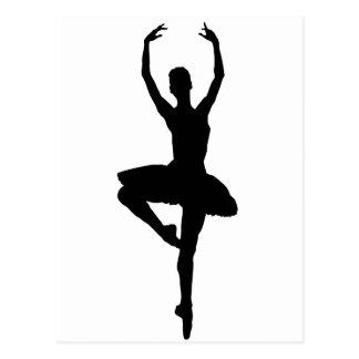 BALLERINA PIROUETTE (ballet dance silhouette) ~~ Postcard