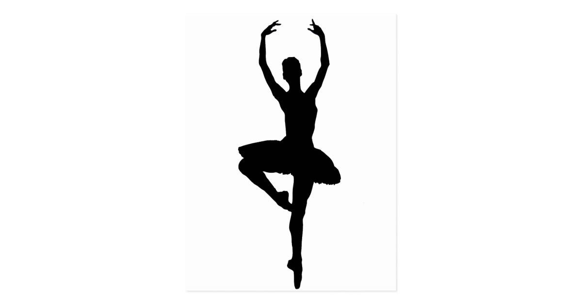 Ballerina Pirouette Ballet Dance Silhouette Postcard