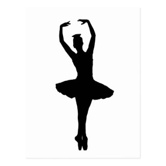 BALLERINA PIROUETTE EN POINTE (Ballet Dancer Silho Postcard