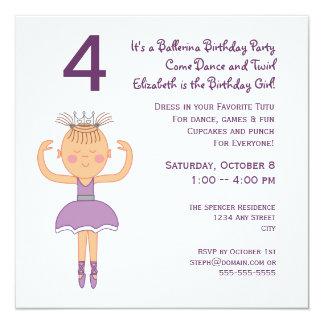 Ballerina Princess Birthday Party 13 Cm X 13 Cm Square Invitation Card