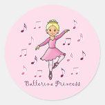 Ballerina Princess Classic Round Sticker