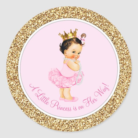 Ballerina Princess Pink Gold Baby Shower Classic Round