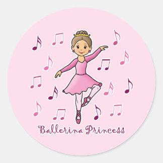 Ballerina Princess Round Sticker