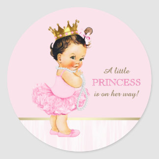 Ballerina Princess Tutu Baby Shower Classic Round Sticker