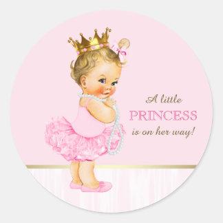Ballerina Princess Tutu Pearls Baby Shower Classic Round Sticker