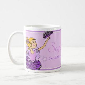 Ballerina purple and golden girl ballet name mug