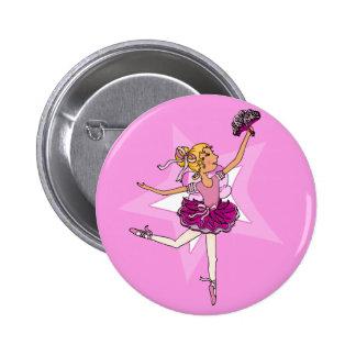 Ballerina purple pink blonde girl star button