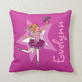 "Ballerina purple pink girl kids ""named"" pillow"