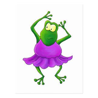 Ballerina Purple Tutu Dancing Frog Postcard