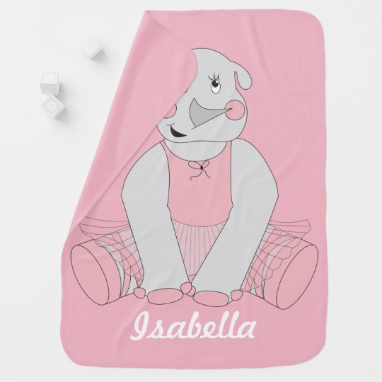Ballerina Rhino Baby Blanket - Changeable Name