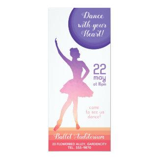 Ballerina silhouette ballet recital dance school card