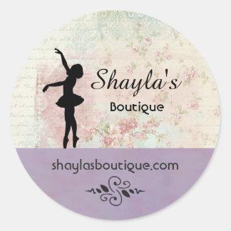 Ballerina Silhouette Elegant Vintage Business Classic Round Sticker