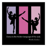 Ballerina Silhouette in Pink Poster