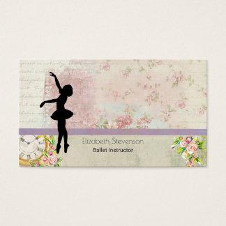 Ballerina Silhouette on Elegant Vintage Pattern