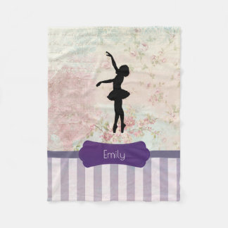 Ballerina Silhouette on Elegant Vintage Pattern Fleece Blanket