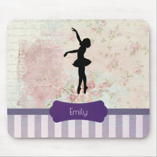 Ballerina Silhouette on Elegant Vintage Pattern Mouse Mat