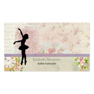 Ballerina Silhouette on Elegant Vintage Pattern Pack Of Standard Business Cards