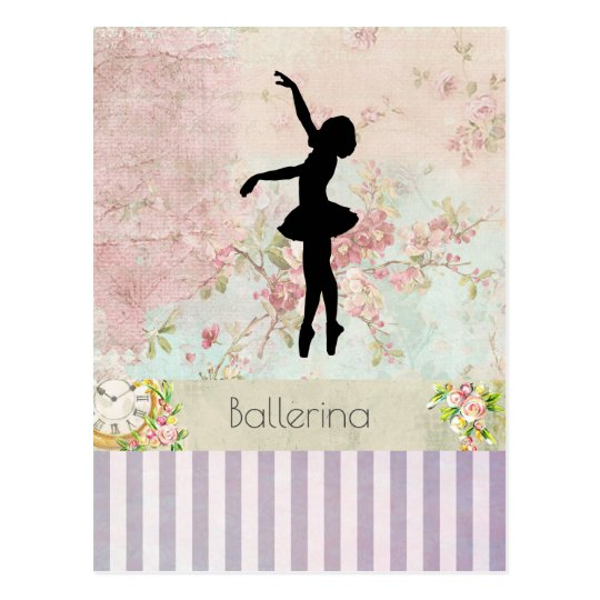 Ballerina Silhouette on Elegant Vintage Pattern Postcard