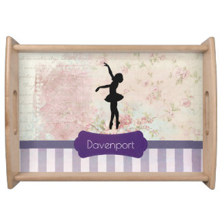 Ballerina Silhouette on Elegant Vintage Pattern Serving Tray