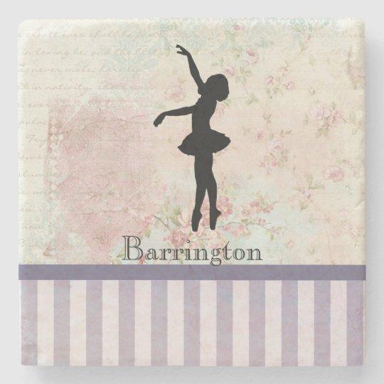 Ballerina Silhouette on Elegant Vintage Pattern Stone Coaster