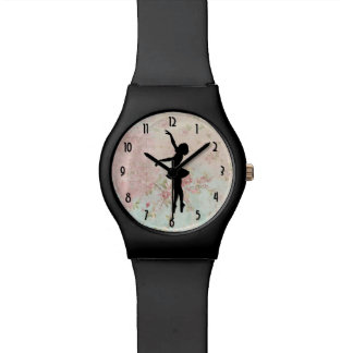 Ballerina Silhouette on Elegant Vintage Pattern Wristwatch