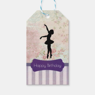 Ballerina Silhouette on Vintage Pattern Birthday
